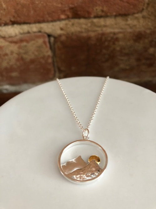 Scenic Mountain Necklace/Sterling and Vermeil