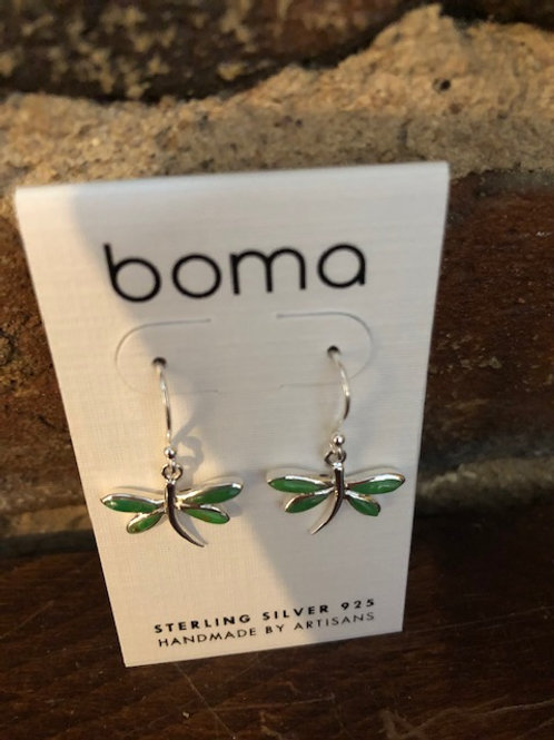 Dragonfly earrings/Sterling & Green turquoise