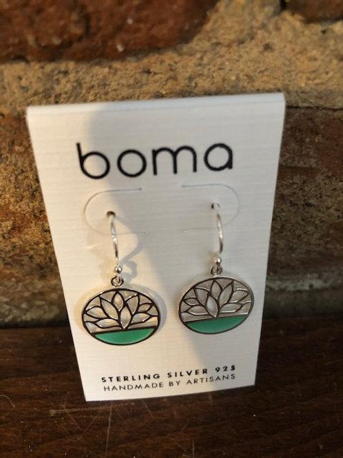 Lotus earrings/Sterling & Green mother of pearl