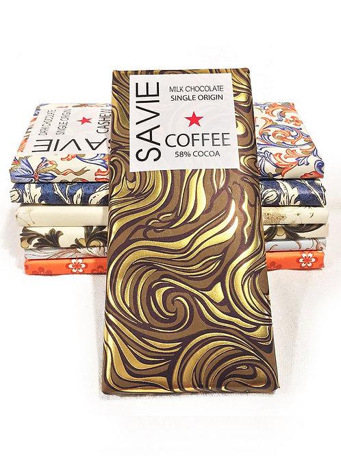 Chocolat au lait et café - Savie - 58% de cacao - Tablette de 70 g