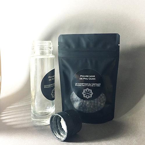 Poivre vietnamien noir entier de Phú Quốc (Tiêu đen) - Recharge de 70 g