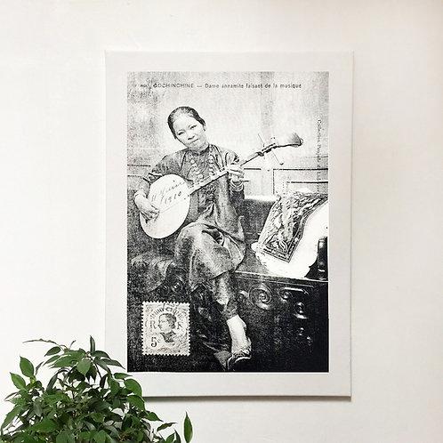 Tissu sérigraphié sur châssis bois - Dame Annamite - Very Ngon - 75 cm x 55 cm