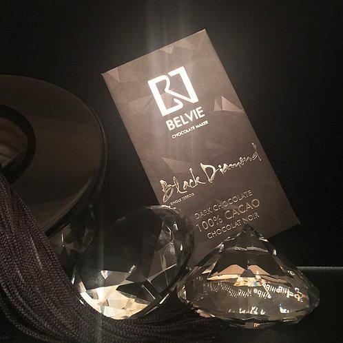 Chocolat Black Diamond - Belvie - 100% cacao - Tablette de 80 g
