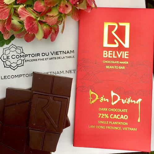 Chocolat noir Đơn Dương - Belvie - 72 % de cacao - Tablette de 80 g