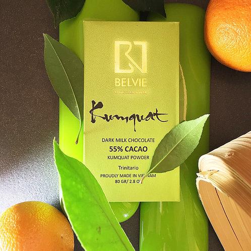 Chocolat Kumquat - Belvie - 55% de cacao - Tablette de 80 g