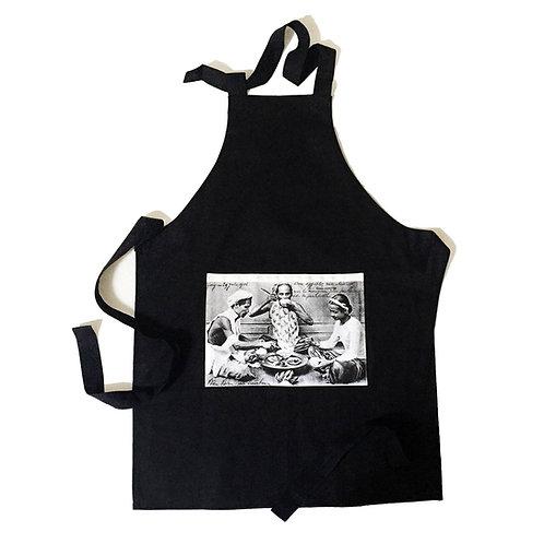 Tablier noir en coton - Repas Annamite - Very Ngon - 80 cm x 60 cm
