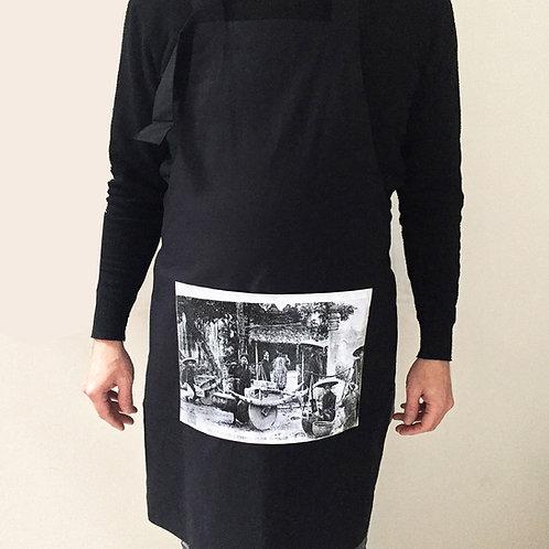 Tablier noir en coton - Marché de Hanoi - Very Ngon - 80 cm x 60 cm