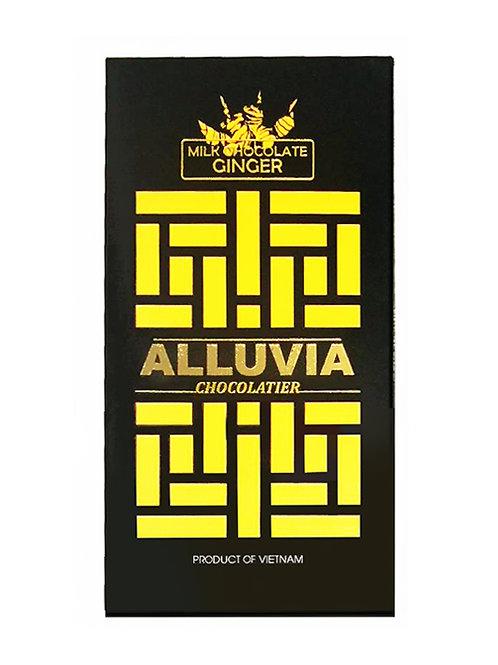 Chocolat au lait gingembre - Alluvia - 40% de cacao - Tablette de 100 g