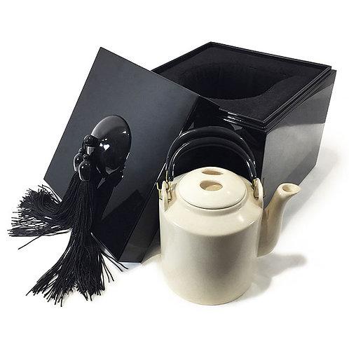 Coffret carré avec théière - Michele de Albert - Laque noire