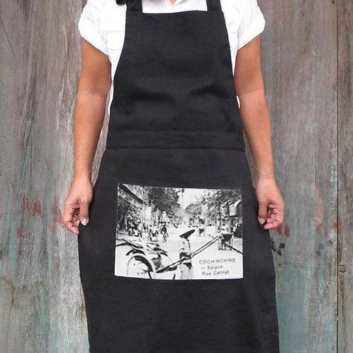 Tablier noir en coton - Rue Catinat - Very Ngon - 80 cm x 60 cm