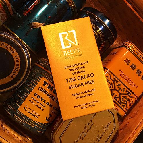 Chocolat noir sans sucre - Belvie - 70 % cacao - Tablette de 80 g