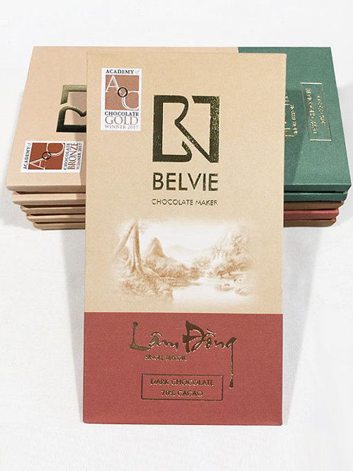 Chocolat vietnamien Lam Dong - Belvie - 70% de cacao - Tablette de 80 g