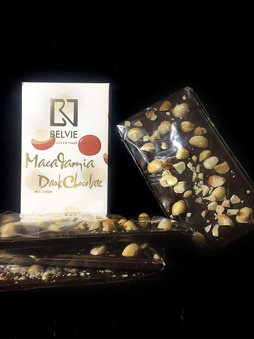 Chocolat noir Macadamia - Belvie - 60% cacao - Tablette de 80 g
