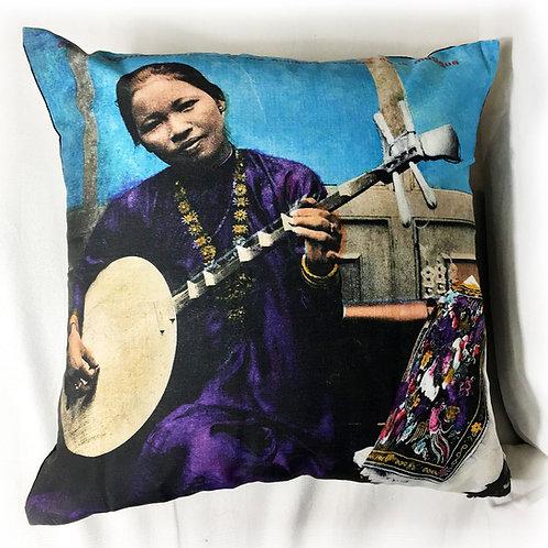 Coussin zip en couleurs - Dame Annamite - Very Ngon - 45 cm x 45 cm