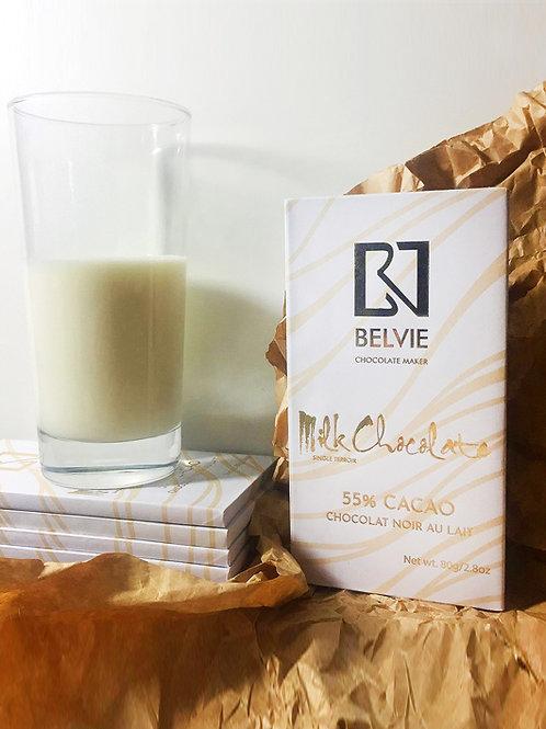 Chocolat noir au lait - Belvie - 55 % cacao - Tablette de 80 g