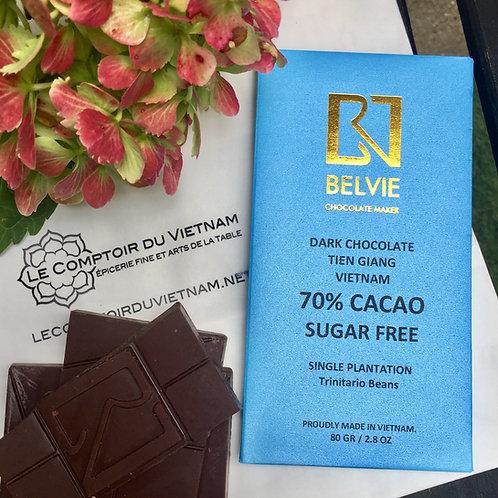 Chocolat noir sans sucre - Belvie - 70 % de cacao - Tablette de 80 g