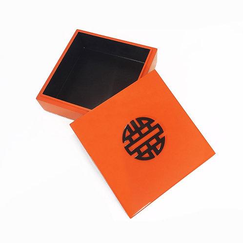 Square box double happyness - Michele de Albert - Laque orange