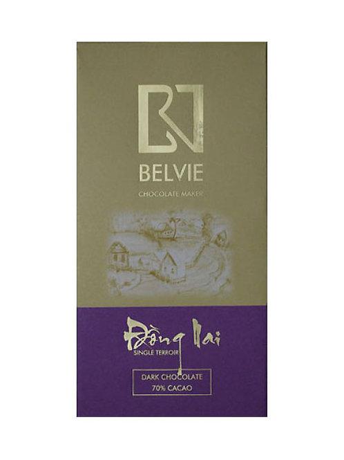 Chocolat noir Dong Nai - Belvie - 70% de cacao - Tablette de 80 g
