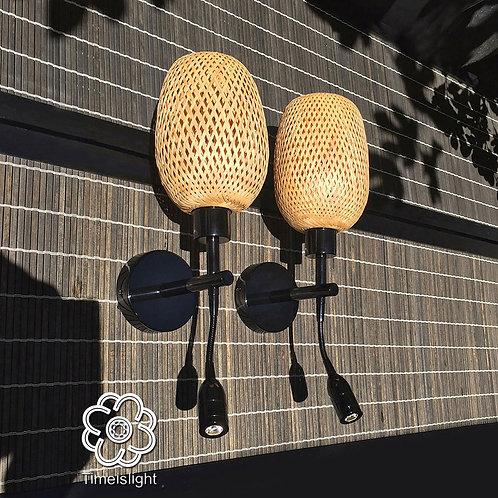 Appliques murales noires, bambou naturel + liseuse - Vendues par paire