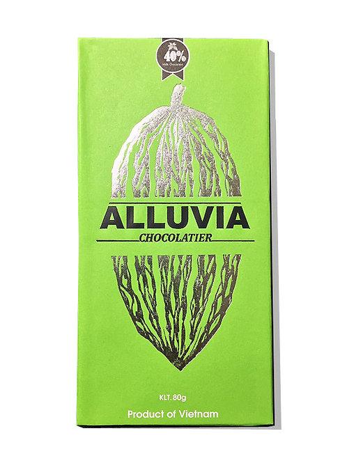 Chocolat au lait - Alluvia - 40 % de cacao - Tablette de 80 g
