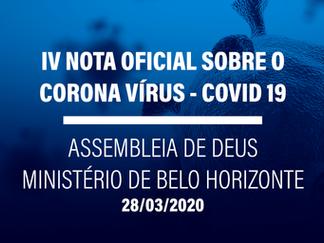 IV NOTA OFICIAL - PROGRAMAÇÃO DA ASSEMBLEIA DE DEUS MINISTÉRIO BELO HORIZONTE