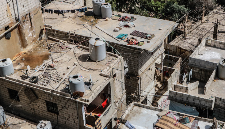 Located in southern Beirut, Shatila camp, originally set-up for Palestanian refugees in 1949, has hosted more than 40,000 refugees, including Palestinians, Syrians, and other groups. During the summer, some sleep, dry the clothes and excercise on the rooftop.