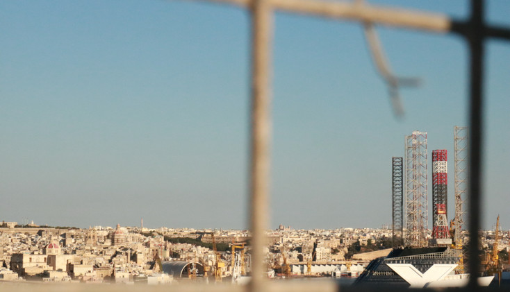 The view from the heart of Valletta to the construction site outside of the city.
