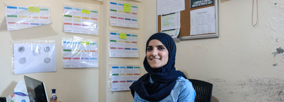Lebanese woman worked at the refugee learning center at the entrance of the Shatila camp.jpg