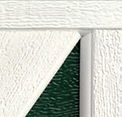 White & Green Garage Door