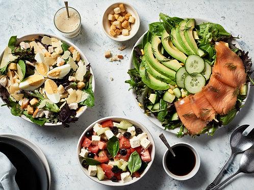 Salads (8 options, 2 sizes).