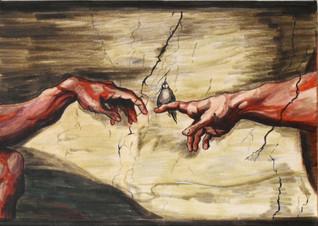 Da Vincis Hände und Vogel