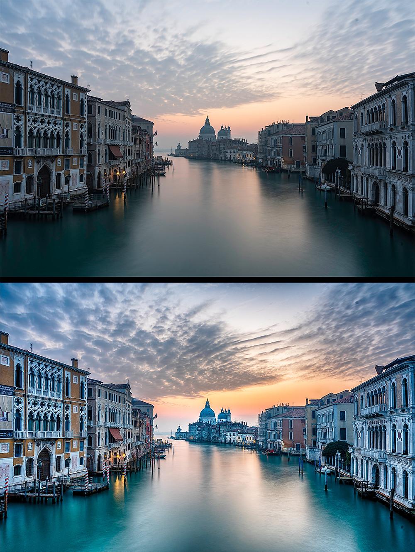 Zwei Ansichten eines Fotos von Venedig  in zwei verschiedenen Stadien der Bildbearbeitung