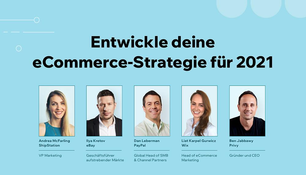 Bild der Teilnehmer in einem Webinar mit der Aufschrift: Entwickle deine eCommerce-Strategie 2021 deinen