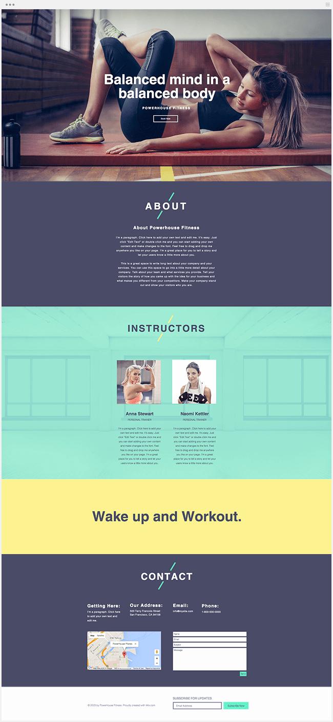 Сайт фитнес студии