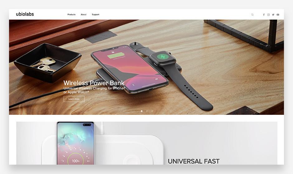 모바일 액세사리 유비오랩스의 편안하고 심플한 감각이 돋보이는 웹사이트