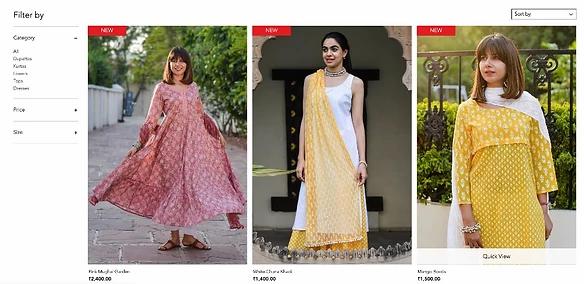Kolorowe sukienki w sklepie Cottons Jaipur