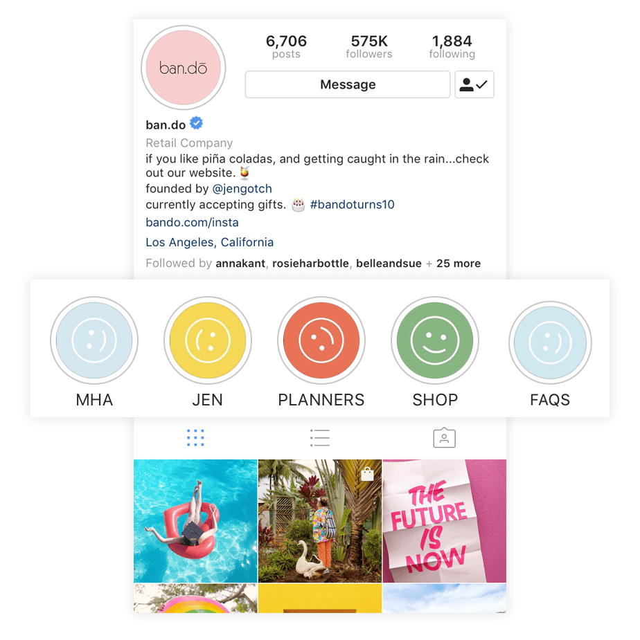 An example of branded cover photos Instagram Story Highlights