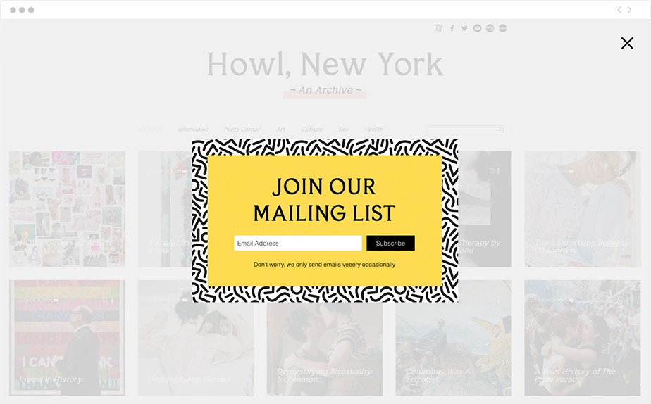 Lightbox example on Wix website Howl, New York