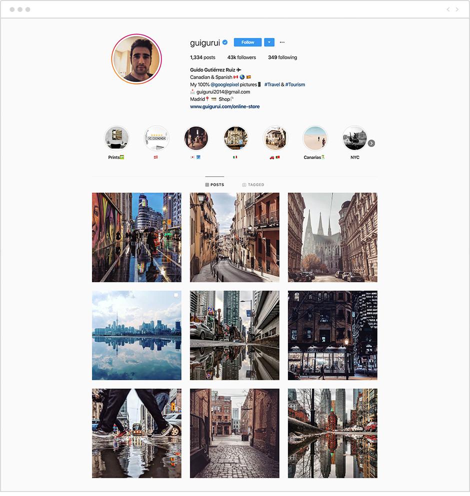 Feed de Instagram con fotos de la cuenta de Guigurui