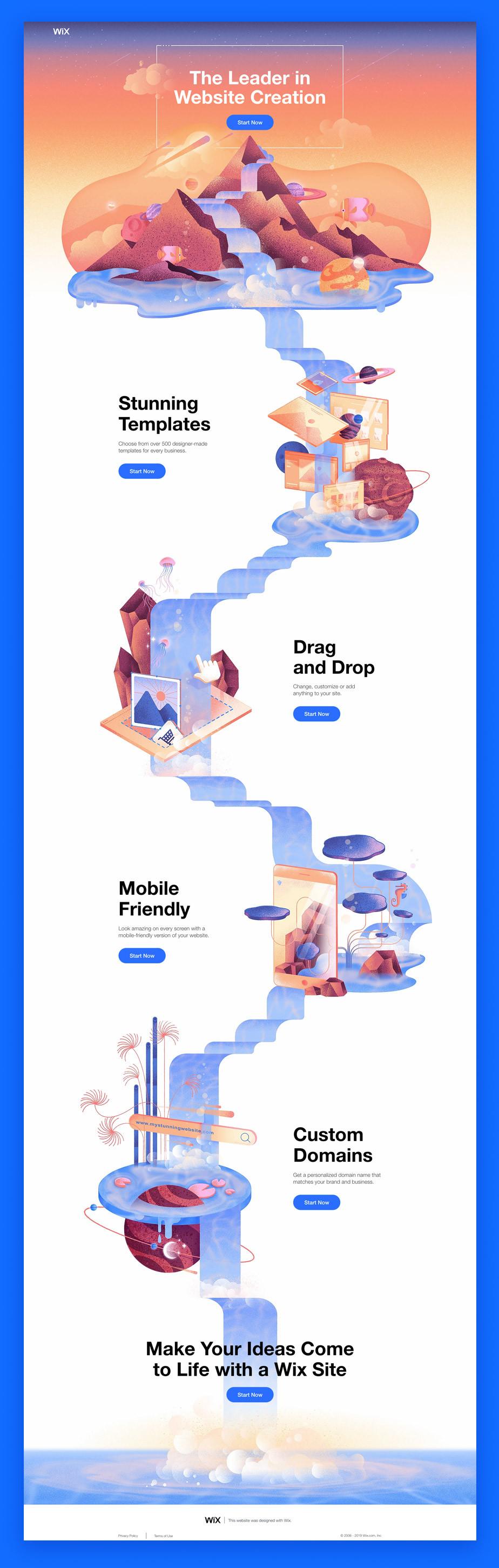 Esempio di una landing page di Wix