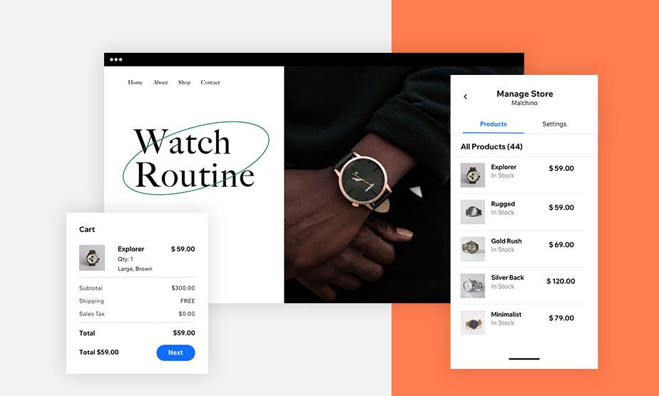 Vista de la función para manejar una tienda en línea en la aplicación Wix Owner