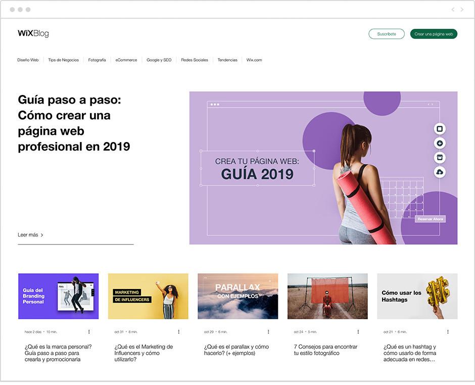 Página de inicio del Blog de Wix en español