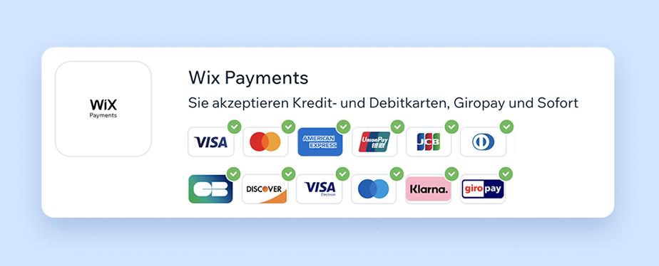 Bild mit allen Zahlungsmöglichkeiten, welche vom Zahlungsanbieter Wix Payments angeboten werden