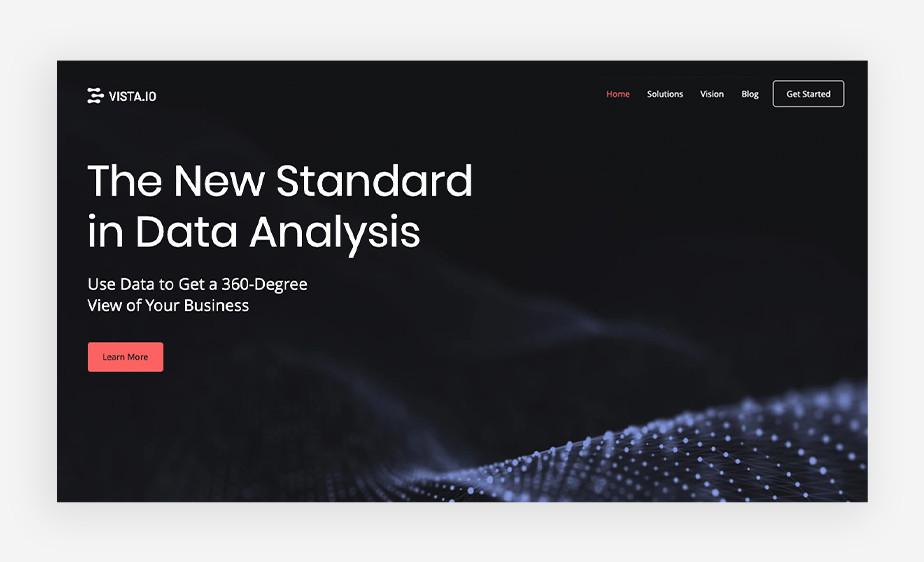 데이터분석 서비스를 제공하는 비스타 스타트업 회사의 웹사이트 이미지