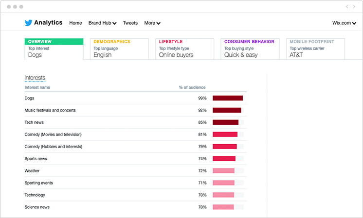 Twitter analytics audience insights example