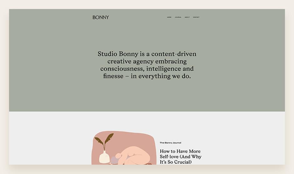크리에이티브 스튜디오 보니 웹사이트에서 보여지는 완벽한 타이포그래피와 색체 팔레트