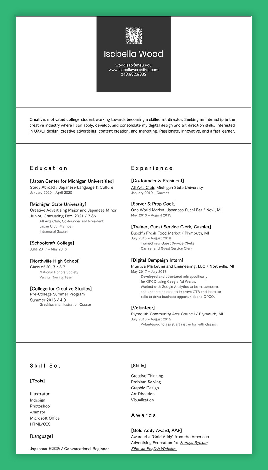 Graphic design resume example by Isabella Wood
