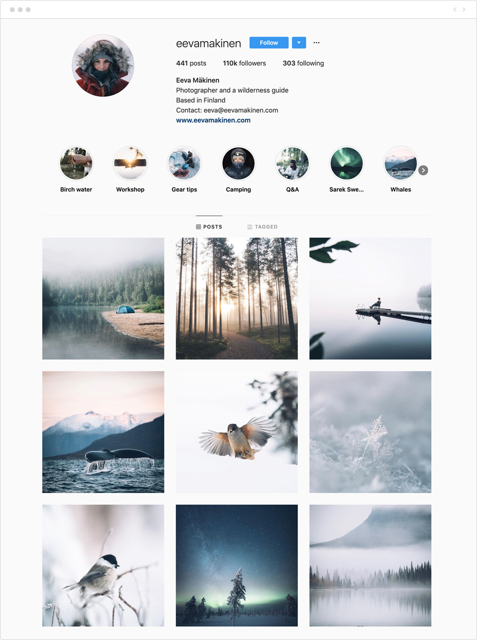 Feed de Instagram de Eva Makinen