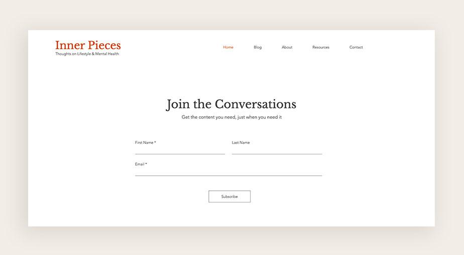 пример формы подписки блога для бизнеса