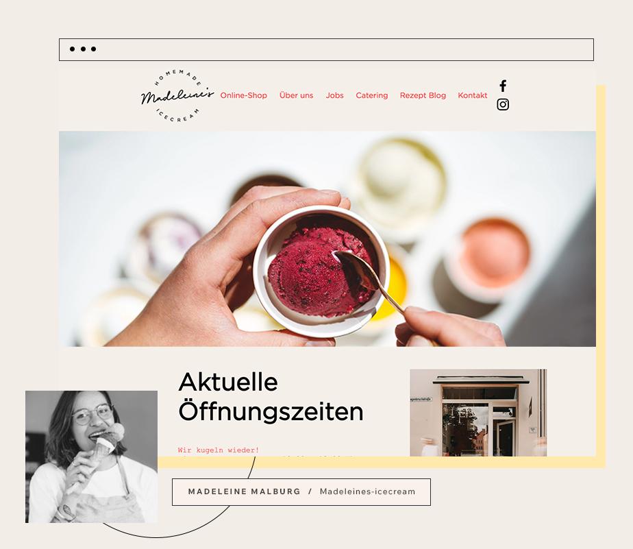Bild der Website Madeleine's homemade Ice Cream mit Gründerin Madeleine Malburg